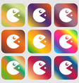 pac man icon sign Nine buttons with bright vector image