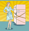 pop art woman on diet with refrigerator lock vector image vector image