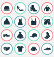 garment icons set collection of panama sneakers vector image