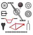 set of parts for bmx bike off-road sport bicycle vector image