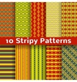 Different colorful stripy seamless patterns tiling vector image