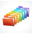 many rainbow folders on the white vector image