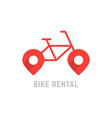 red bike rental logo with map pin vector image