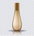 transparent gold perfume cosmetic bottle vector image