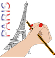 Woman draws the Eiffel Tower vector image