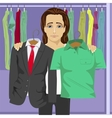 Young thinking man choosing clothes vector image