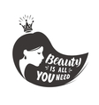 Princess or beautiful girl Lettering beauty is vector image