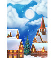 Christmas background Christmas village vector image vector image