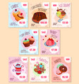 bakery desserts price tags templates set vector image