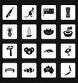 australia travel icons set squares vector image
