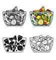 fruit salad icon in cartoon style isolated on vector image