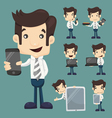Set of businessman show tablet and smart phone cha vector image vector image