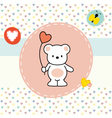 cute bear greeting card vector image vector image