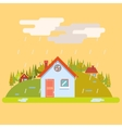 Seasons Change Spring Village Hills Field vector image