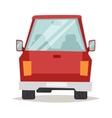 Red cartoon car back view design flat vector image