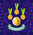 Abstract Brazil design with first place gold medal vector image