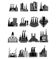 Factory buildings icons set vector image