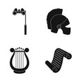 theatrical binoculars a helmet a harp and a vector image