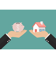 Hands with house and piggy bank vector image vector image