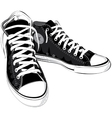 Vintage black shoes sneakers vector image