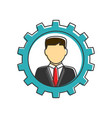businessman in gear flat line icon vector image