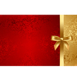 red and gold textured background with bow vector image vector image