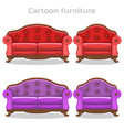cartoon vintage baroque sofa and armchair in vector image
