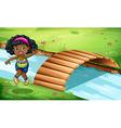 A young Black girl near the wooden bridge vector image