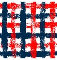 Blue and red checkered grunge gingham seamless vector image vector image