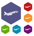 airplane taking off icons set vector image