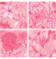 Set of 4 Floral Seamless Patterns in pink colors w vector image