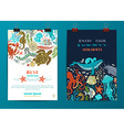 Set of two sea life poster templates vector image