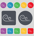 wind icon sign A set of 12 colored buttons Flat vector image