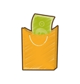drawing bag gift present bill money vector image