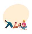 boy man reading book lying woman girl using vector image
