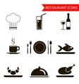 restaurant sihouette icons set vector image