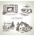 Hand drawn sketch set of family vacation vector image