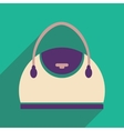 Flat icon with long shadow leather handbag vector image
