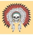 American indian skull in feather headdress vector image