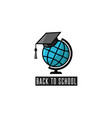 back to school logo globe and mortarboard vector image