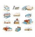 Doodle books hand drawn novel encyclopedia vector image