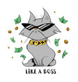 funny cat under money rain vector image