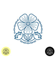 Linen logo Outline style of a linen flower seed b vector image