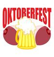 Oktoberfest Beer mug between tits Symbol of Beer vector image
