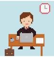 pixel art illistration office businessman vector image