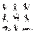 black graceful cats vector image vector image