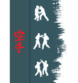 Hieroglyph of karate and men demonstrating karate vector image