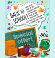 back to school sale checkered page poster vector image