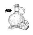 bottle of walnut oil hand drawn vector image