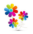 Colorful flowers isolated on white background vector image